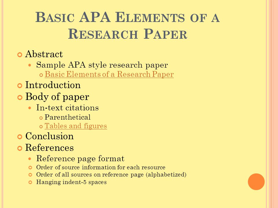 Basic APA Elements of a Research Paper