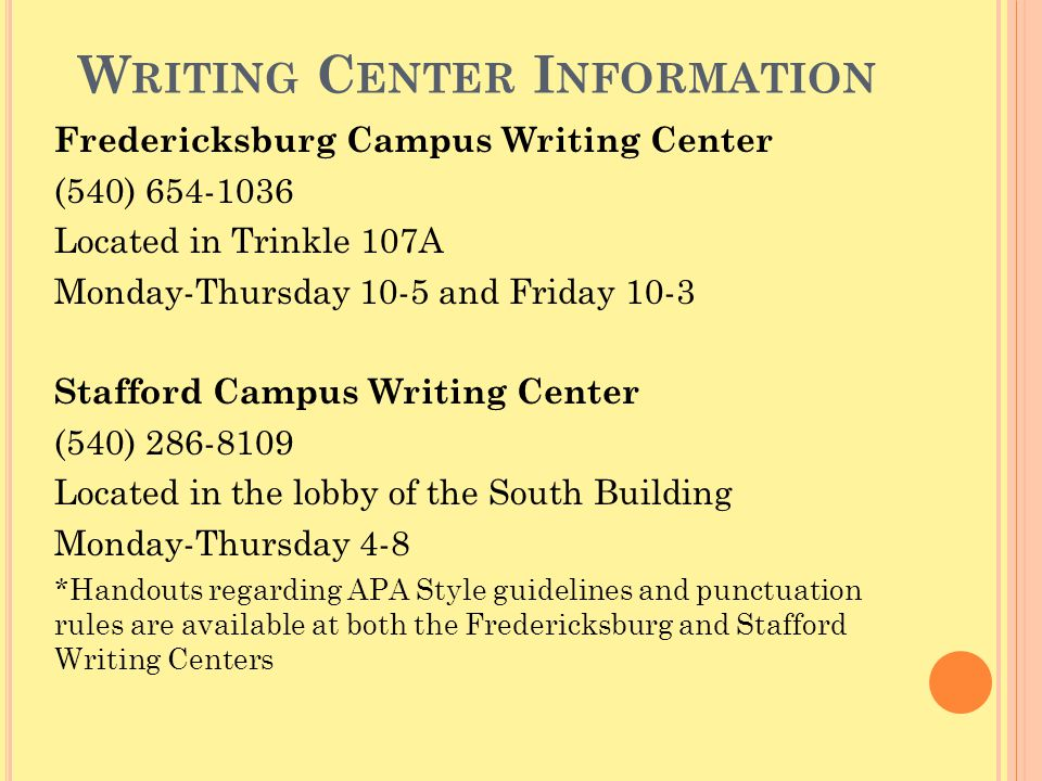Writing Center Information