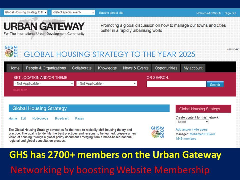 GHS has 2700+ members on the Urban Gateway