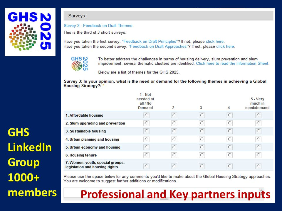 GHS LinkedIn Group 1000+ members Professional and Key partners inputs
