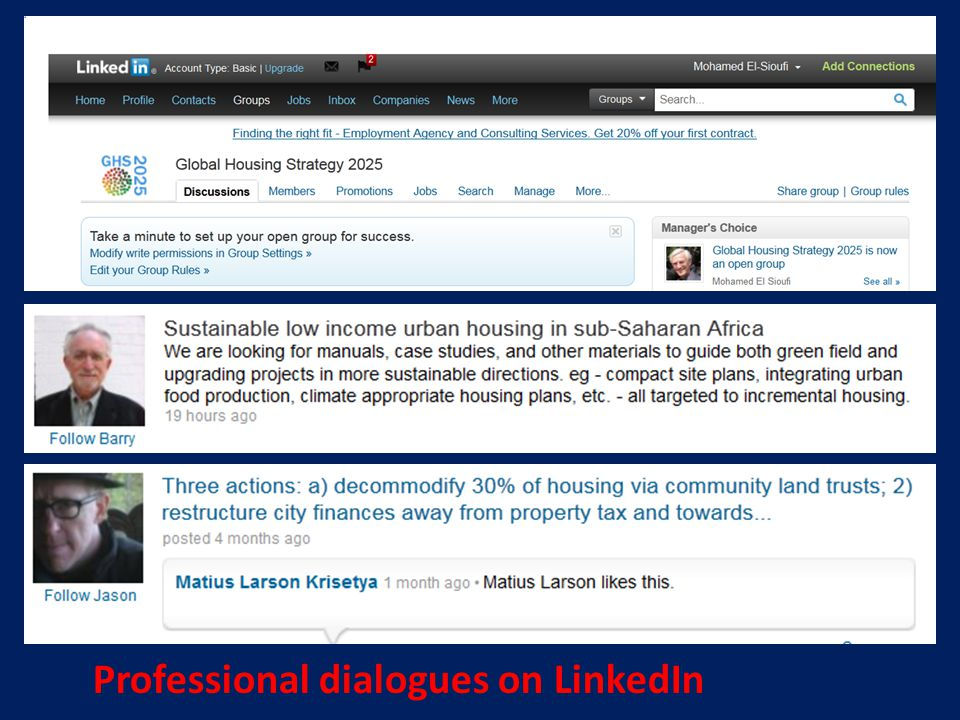 Professional dialogues on LinkedIn