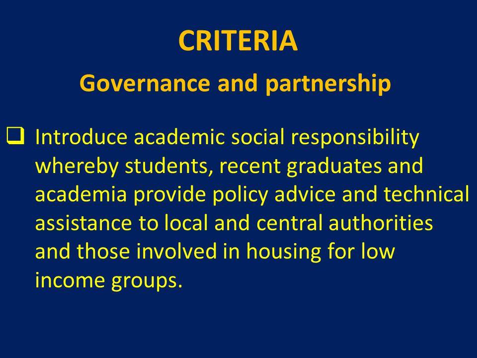 CRITERIA Governance and partnership