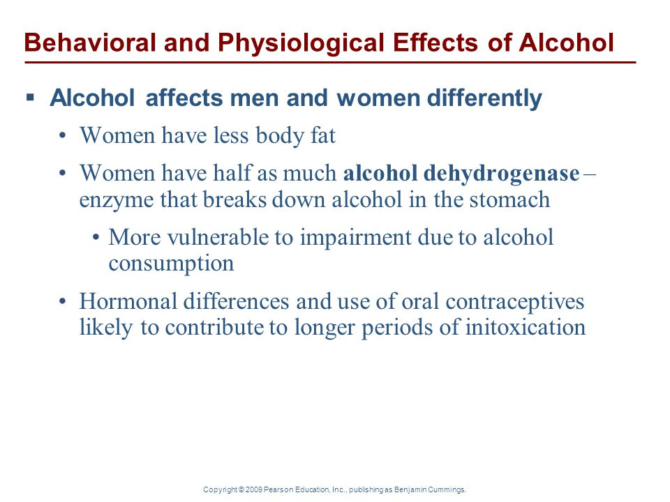 analyzing the effects of alcohol on men and women