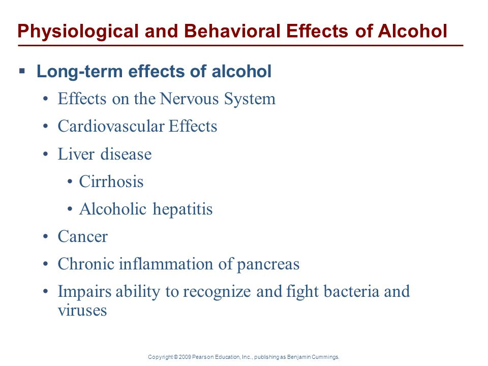 Physiological and Behavioral Effects of Alcohol