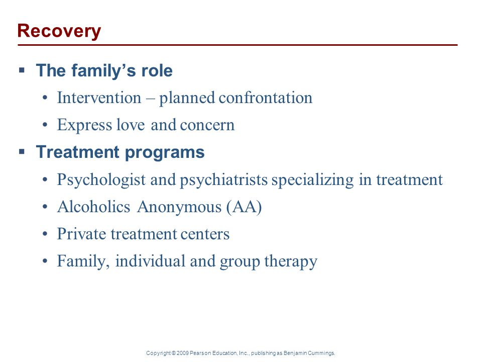 Recovery The family's role Intervention – planned confrontation