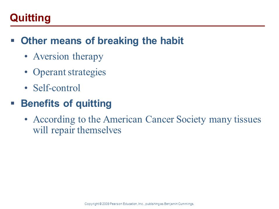 Quitting Other means of breaking the habit Aversion therapy