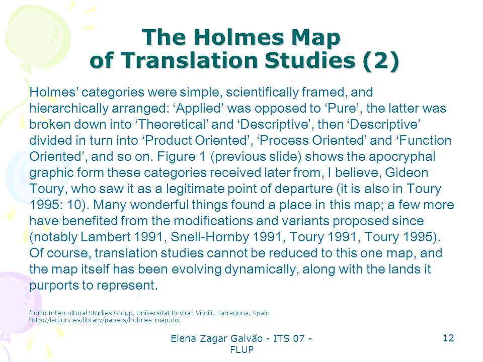 The Holmes Map of Translation Studies (2)