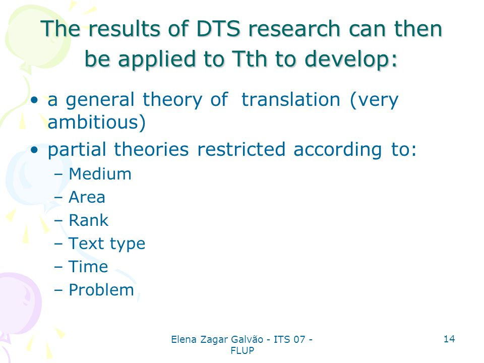 The results of DTS research can then be applied to Tth to develop: