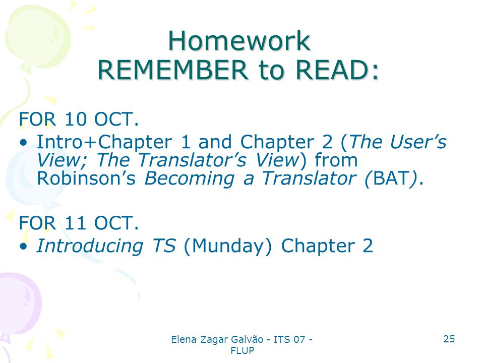 Homework REMEMBER to READ: