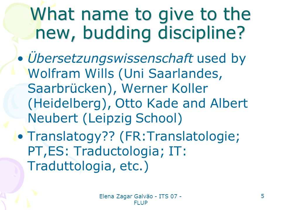 What name to give to the new, budding discipline