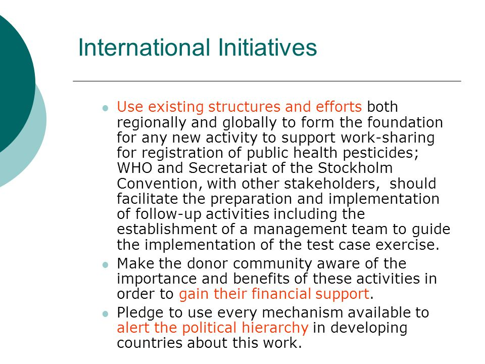 International Initiatives