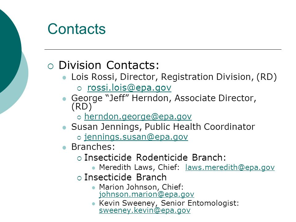 Contacts Division Contacts: rossi.lois@epa.gov