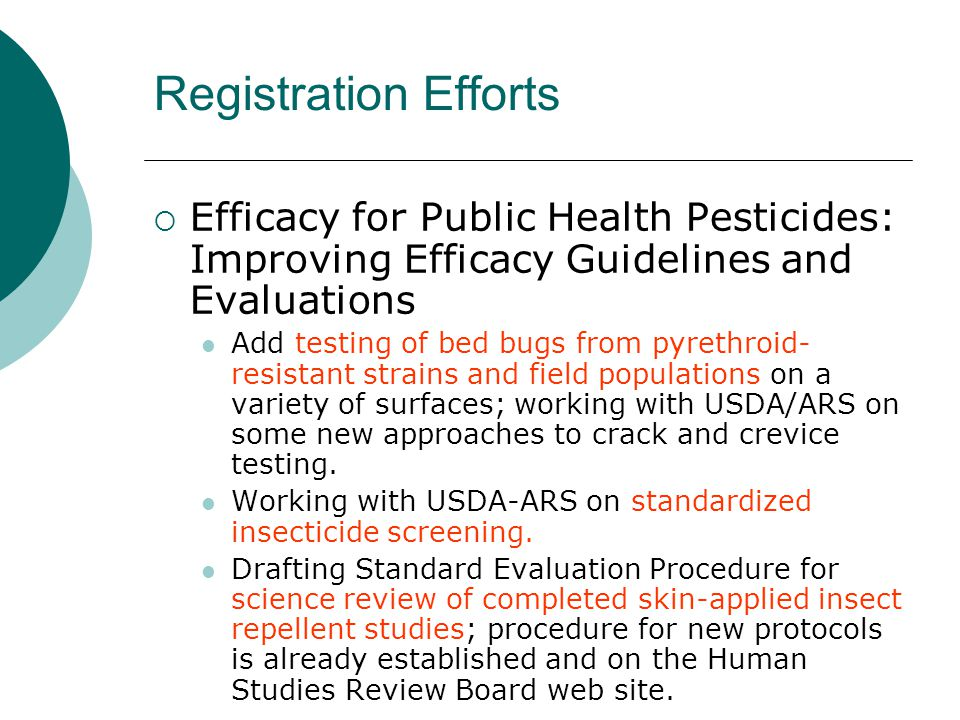 Registration Efforts Efficacy for Public Health Pesticides: Improving Efficacy Guidelines and Evaluations.