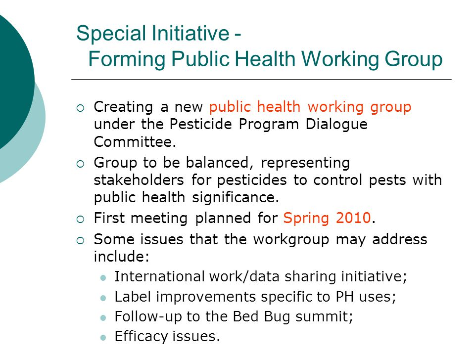 Special Initiative - Forming Public Health Working Group