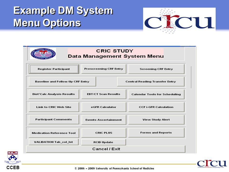 Example DM System Menu Options