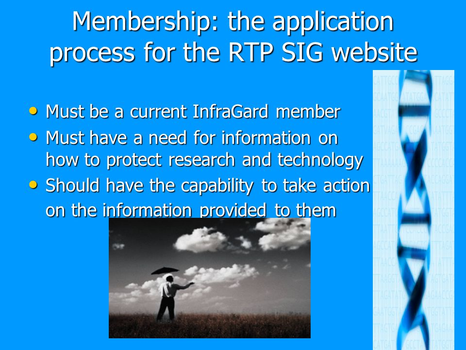 Membership: the application process for the RTP SIG website