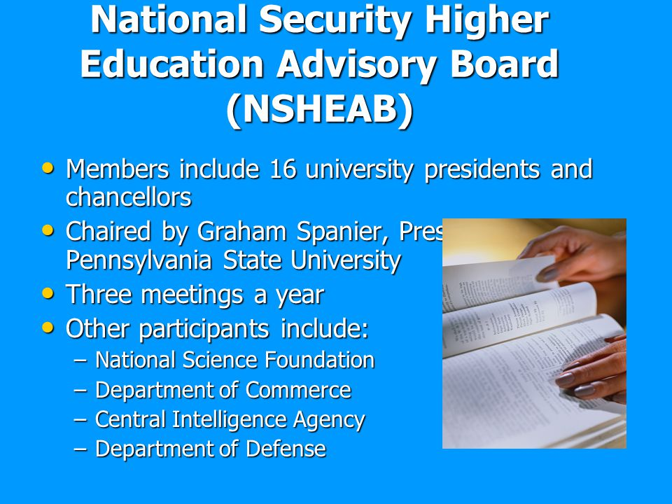 National Security Higher Education Advisory Board (NSHEAB)