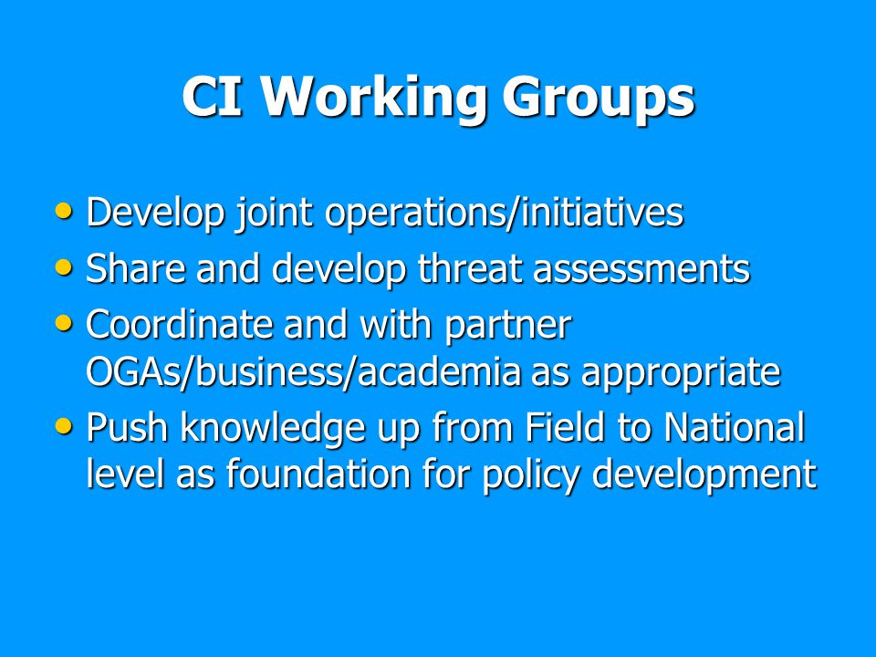 CI Working Groups Develop joint operations/initiatives