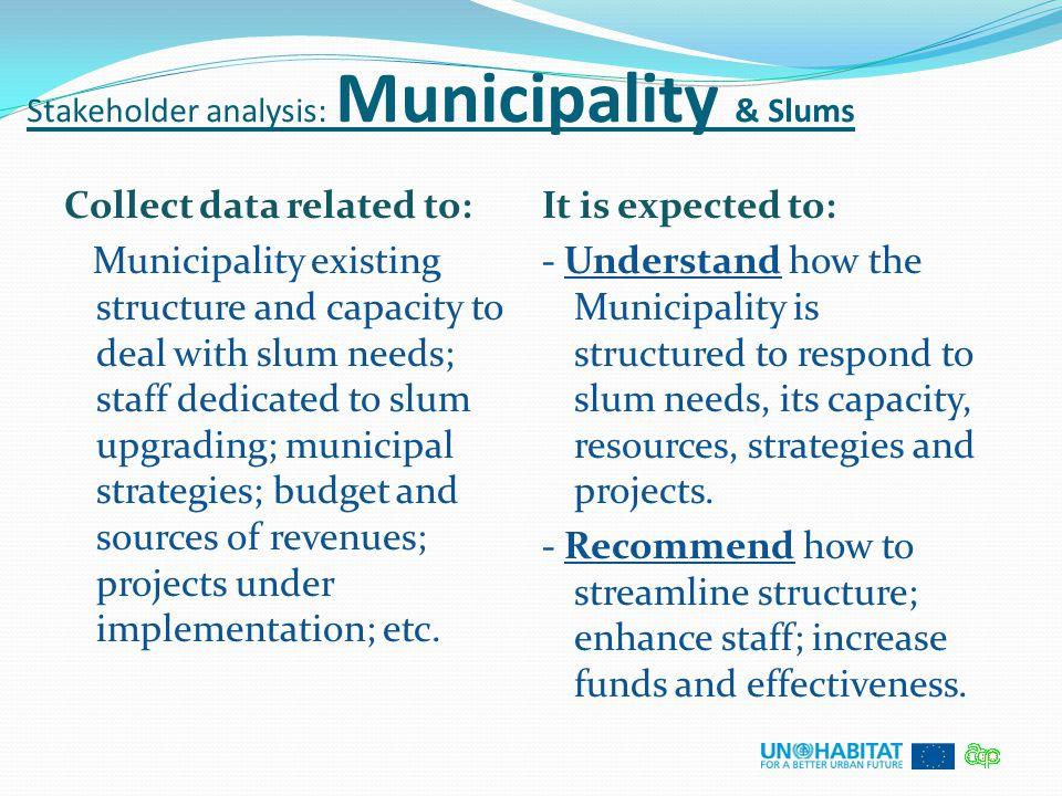 Stakeholder analysis: Municipality & Slums