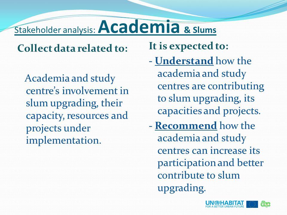 Stakeholder analysis: Academia & Slums