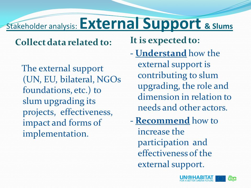 Stakeholder analysis: External Support & Slums