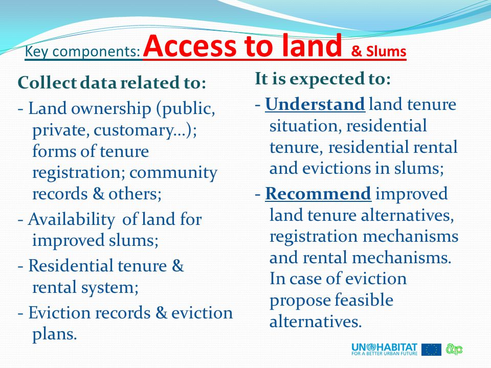 Key components: Access to land & Slums