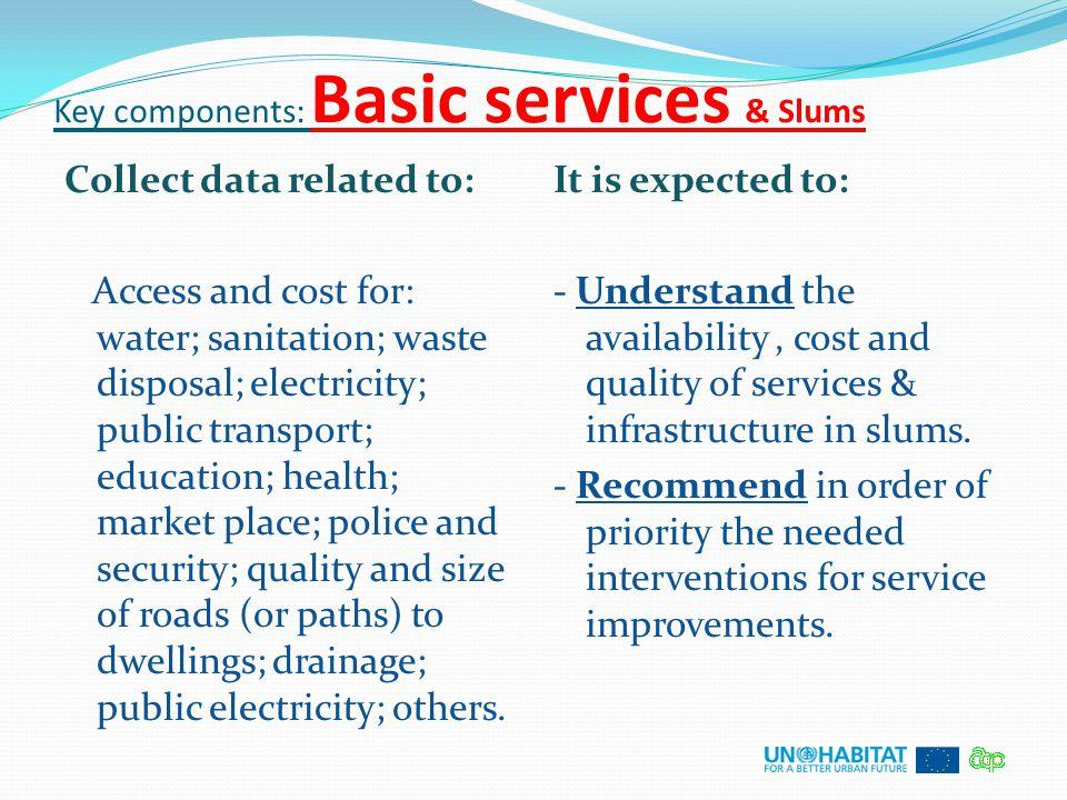 Key components: Basic services & Slums