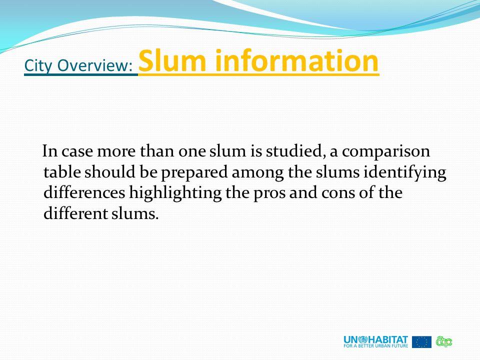 City Overview: Slum information
