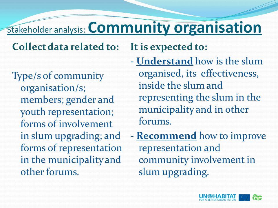 Stakeholder analysis: Community organisation