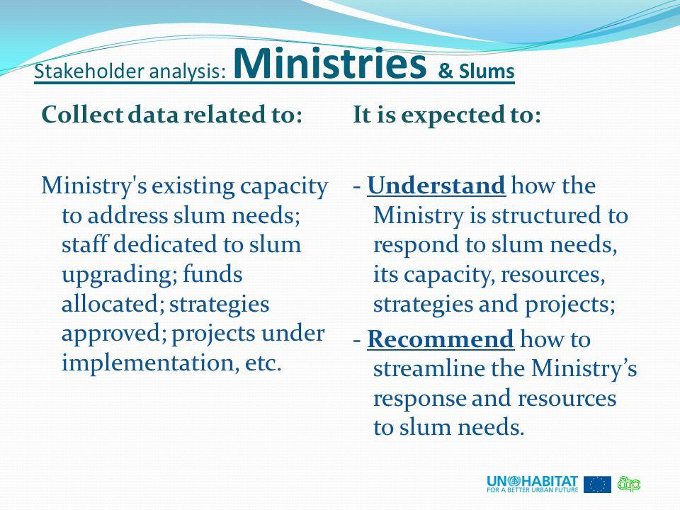Stakeholder analysis: Ministries & Slums