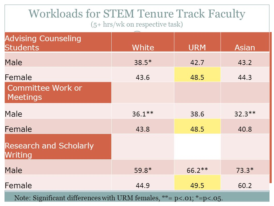 Workloads for STEM Tenure Track Faculty (5+ hrs/wk on respective task)
