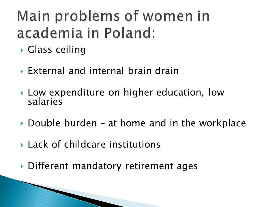 Main problems of women in academia in Poland: