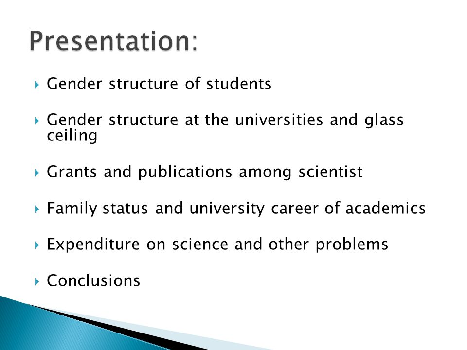 Presentation: Gender structure of students
