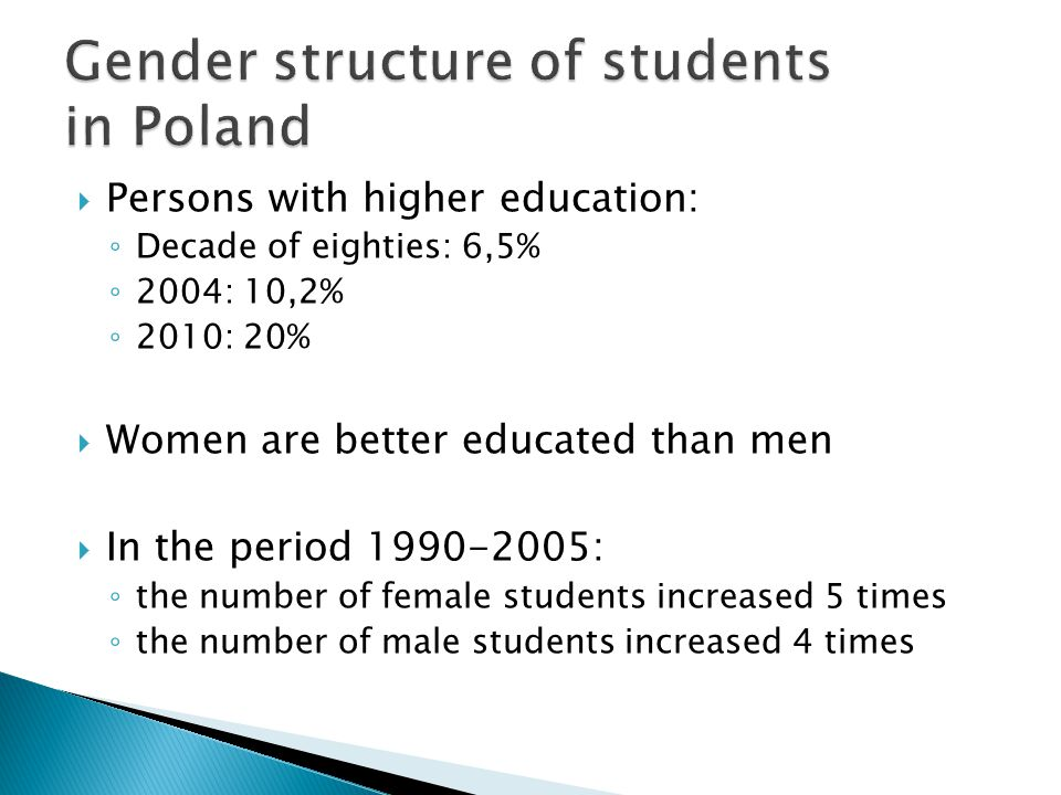 Gender structure of students in Poland