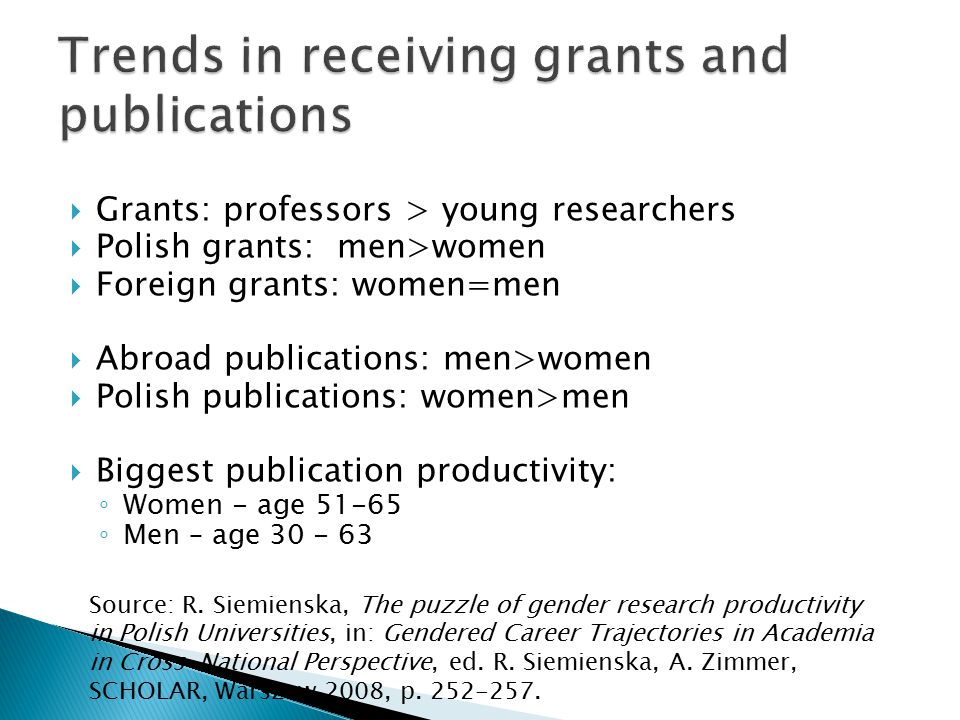 Trends in receiving grants and publications