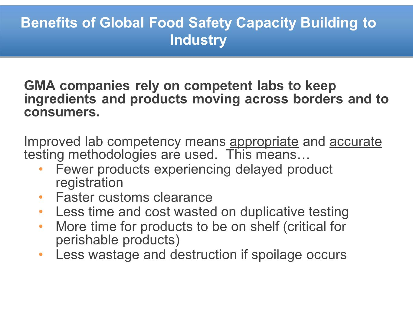 Benefits of Global Food Safety Capacity Building to Industry