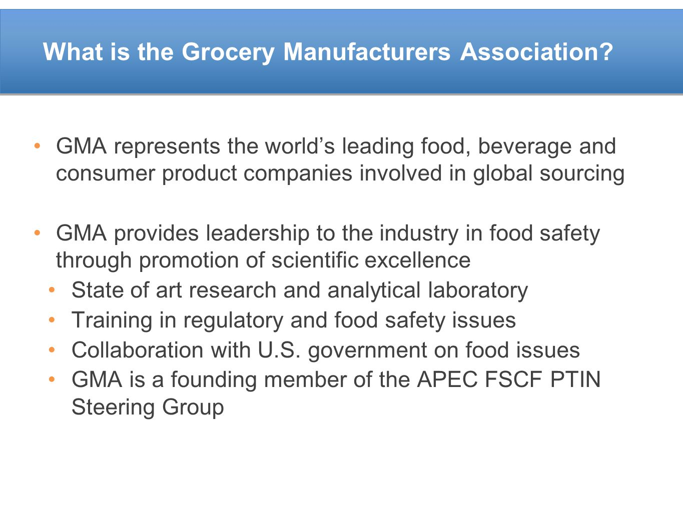 What is the Grocery Manufacturers Association
