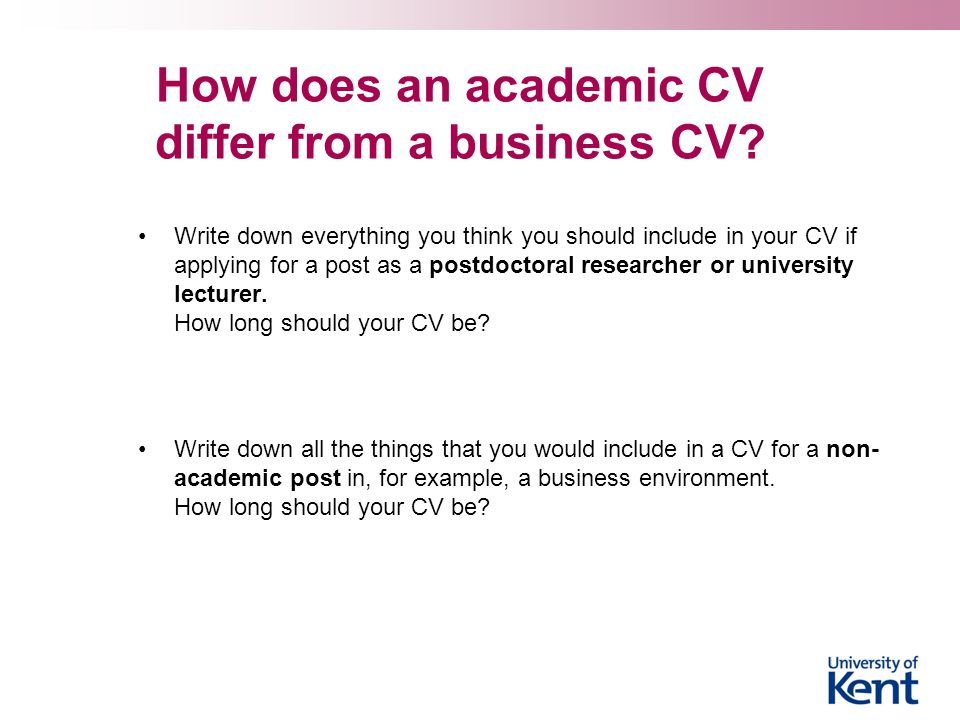 How does an academic CV differ from a business CV