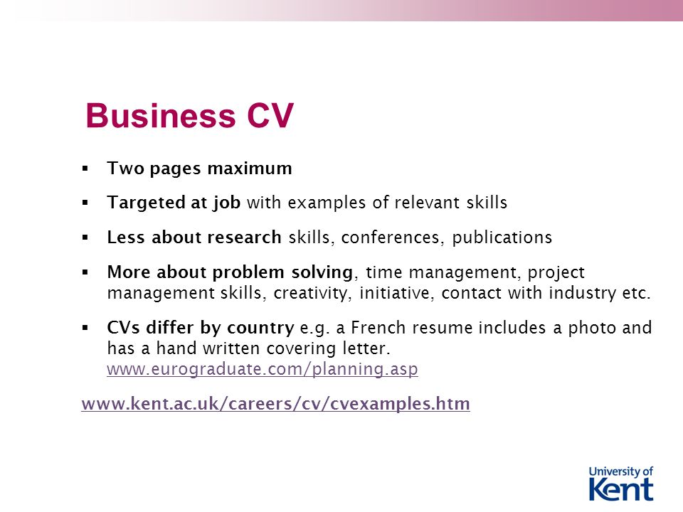 Business CV Two pages maximum