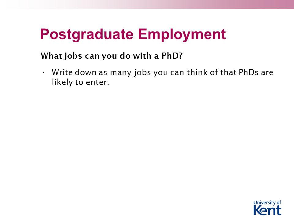 Postgraduate Employment