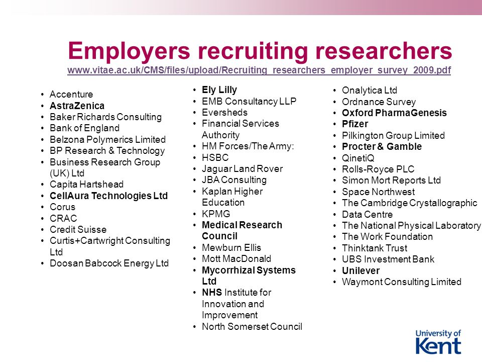 Employers recruiting researchers www. vitae. ac