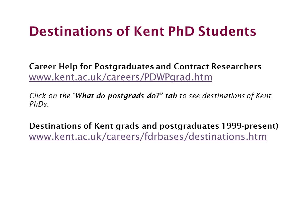 Destinations of Kent PhD Students