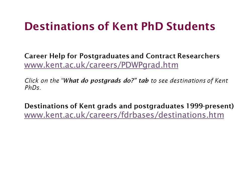 Destinations of Kent PhD Students