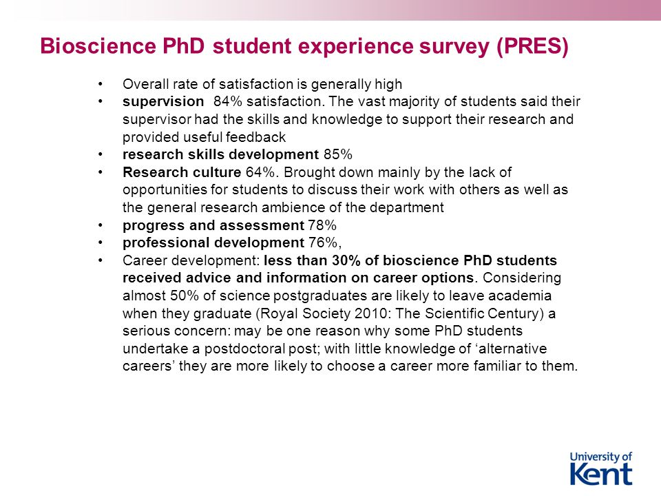 Bioscience PhD student experience survey (PRES)