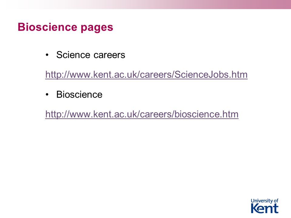 Bioscience pages Science careers