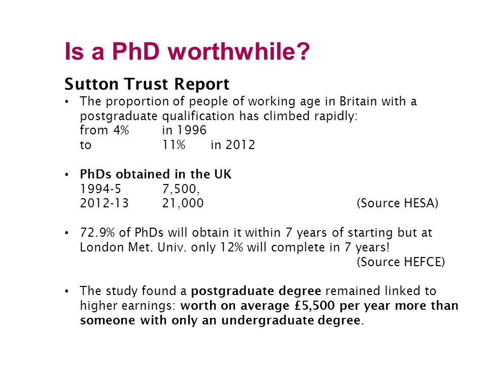 Is a PhD worthwhile Sutton Trust Report