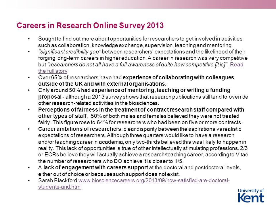 Careers in Research Online Survey 2013