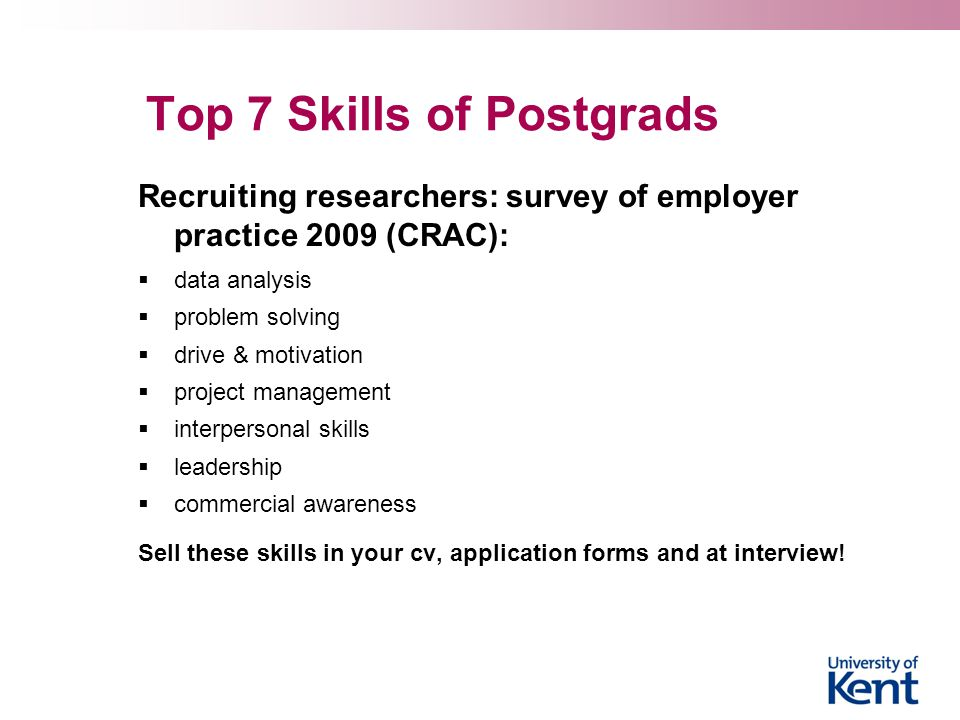 Top 7 Skills of Postgrads