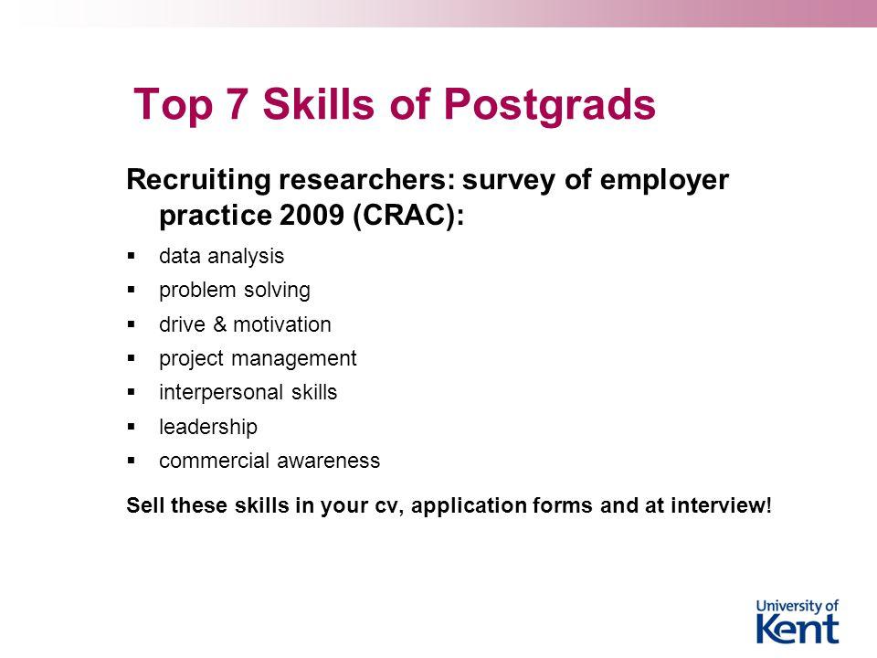Top 7 Skills of Postgrads