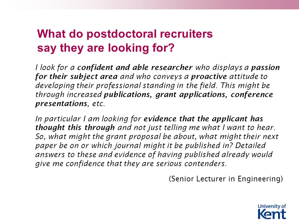 What do postdoctoral recruiters say they are looking for
